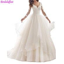 Big Size Wedding Dress Long Sleeve Lace Bride Dresses V Neck Ruffles Gown Sheer Back Train Formal Women Elegant