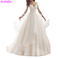 Big Size Wedding Dress Long Sleeve Lace Bride Dresses V Neck Ruffles Wedding Gown Sheer Back Train Formal Dress Women Elegant