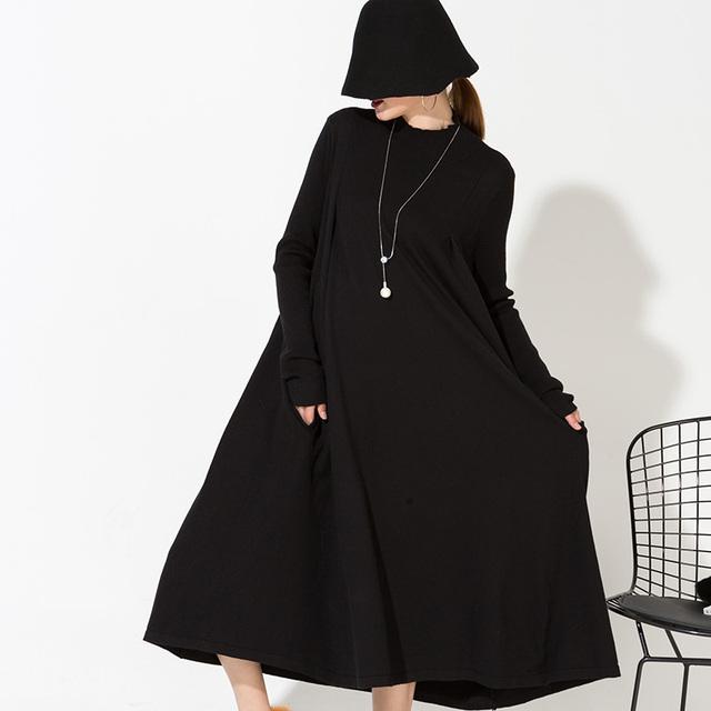 [Soonyour] 2017 nueva primavera de color sólido más el tamaño de las mujeres larga sección más larga de la manga medio-neck dress comercio al por mayor as15851