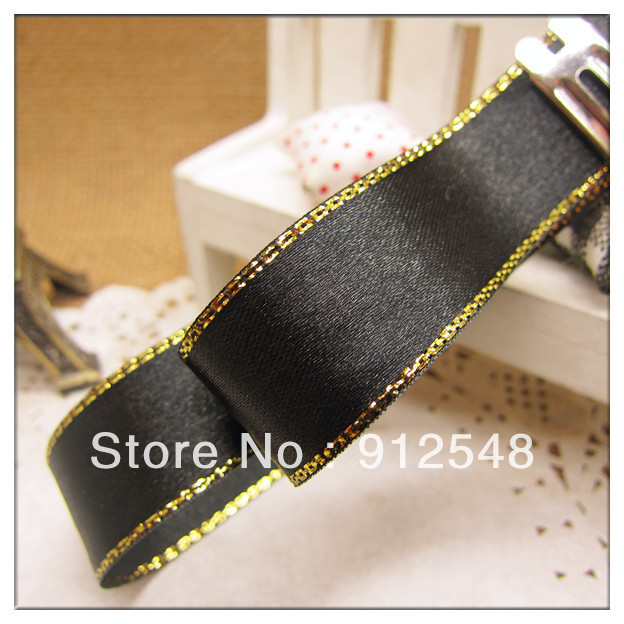 free shipping 3 4 20mm 0ne pieces 25yards black gold edge satin