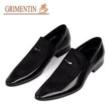 GRIMENTIN Fashion genuine leather black business male shoes