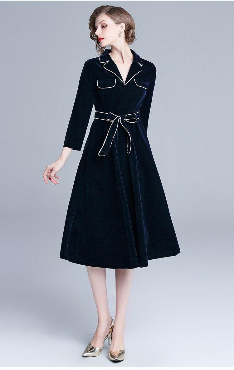 Automne hiver grande robe Swing femmes velours Patchwork manches longues col cranté robe décontracté manches longues ceintures robe Vestidos - 3