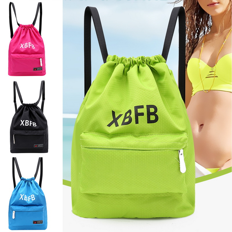 Men Women String Bag Sport Drawstring Bag Sports Backpack Gym Sackpack Portable Waterproof Gym Swim Pool