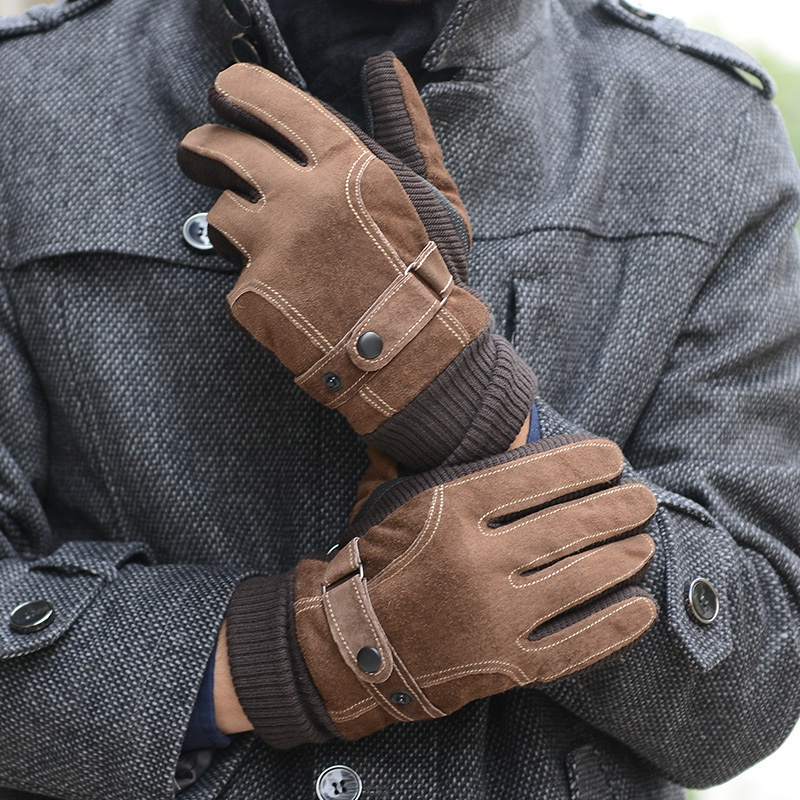 Increase Suede Leather Glove Winter Cold And Warm Man Cotton Glove Winter Pigskin Glove Ride A Bike Autumn And Winter Windbreak