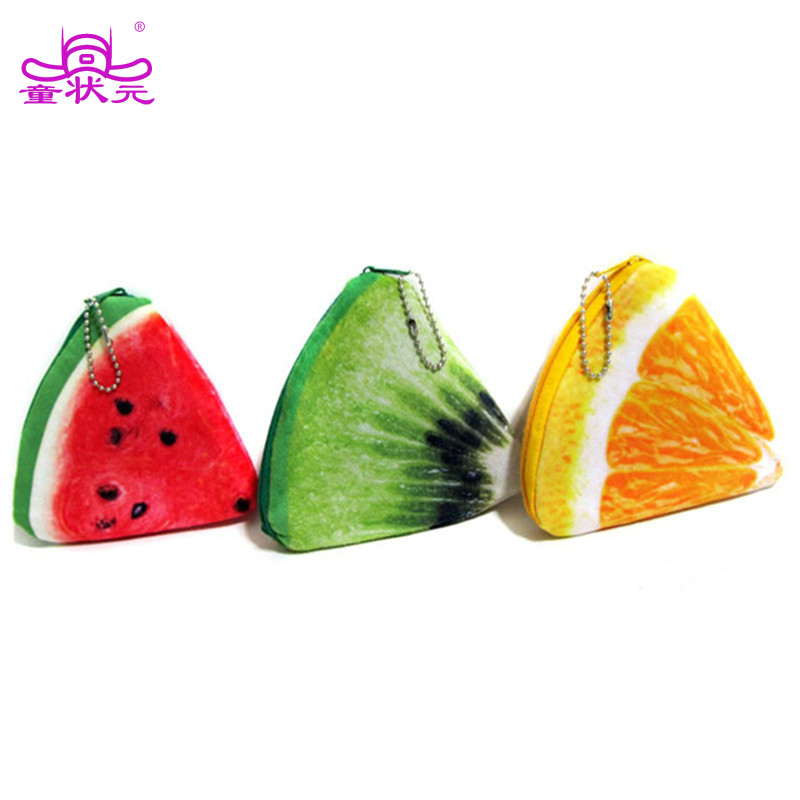 3pcs Fruit Wallets Plush Coin Storage Pouch Lovely Children Gifts Watermelon Lemon Purses Mini Money Bags Gift for Children drawing strap design gadgets storage nylon bag pouch set watermelon red 4 pcs