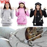 Mèo Túi Hoodies Người Yêu Vật Nuôi Sweatshirt Với Cuddle Pouch Con Chó Con Mèo Con Động Vật Nhỏ Pouch Hãng Áo Thun Với Tai WXC