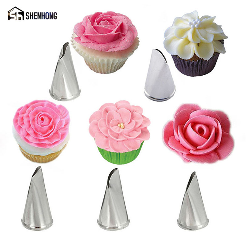 Shenhong 5pcs Set Rose Flower Icing Piping Tips Stainless