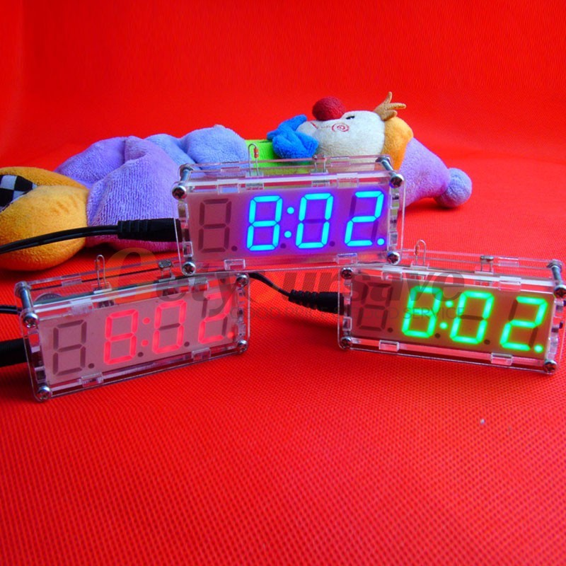 DIY Assembly Electronic Clock Kit LED Clock Temperature Alternate Display Built-in Alarm Clock Kitchen Bar Party(China)