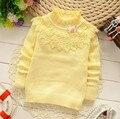 Diseño de Moda chica Ropa Infantil Color Embroma el Suéter Suéteres de Cuello de Encaje de Algodón Ropa de Moda