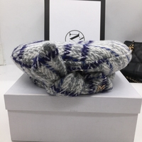 Qiu dong thickening beret hat female duffel knitting grid fashion bowknot painter cap checked woolen fabric Berets