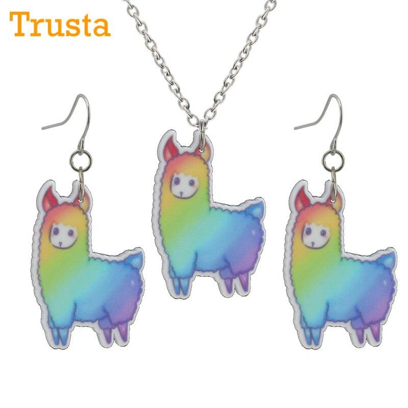 Trusta 2018 Newest Fashion Girls Kids Gift Jewelry Cute Color Alpaca Earring Pendant 40cm Short Chain Necklace Xma Gift KS06-B