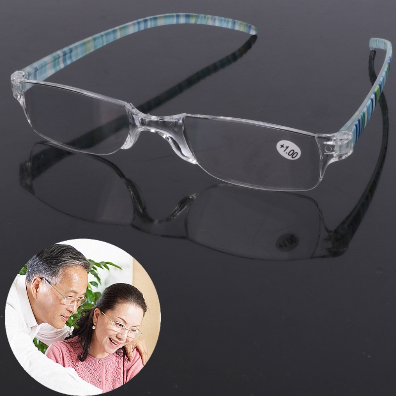 Unisex Striped Reading Glasses Resin Clear Lens Presbyopia Eyeglasses +1.0~+4.0
