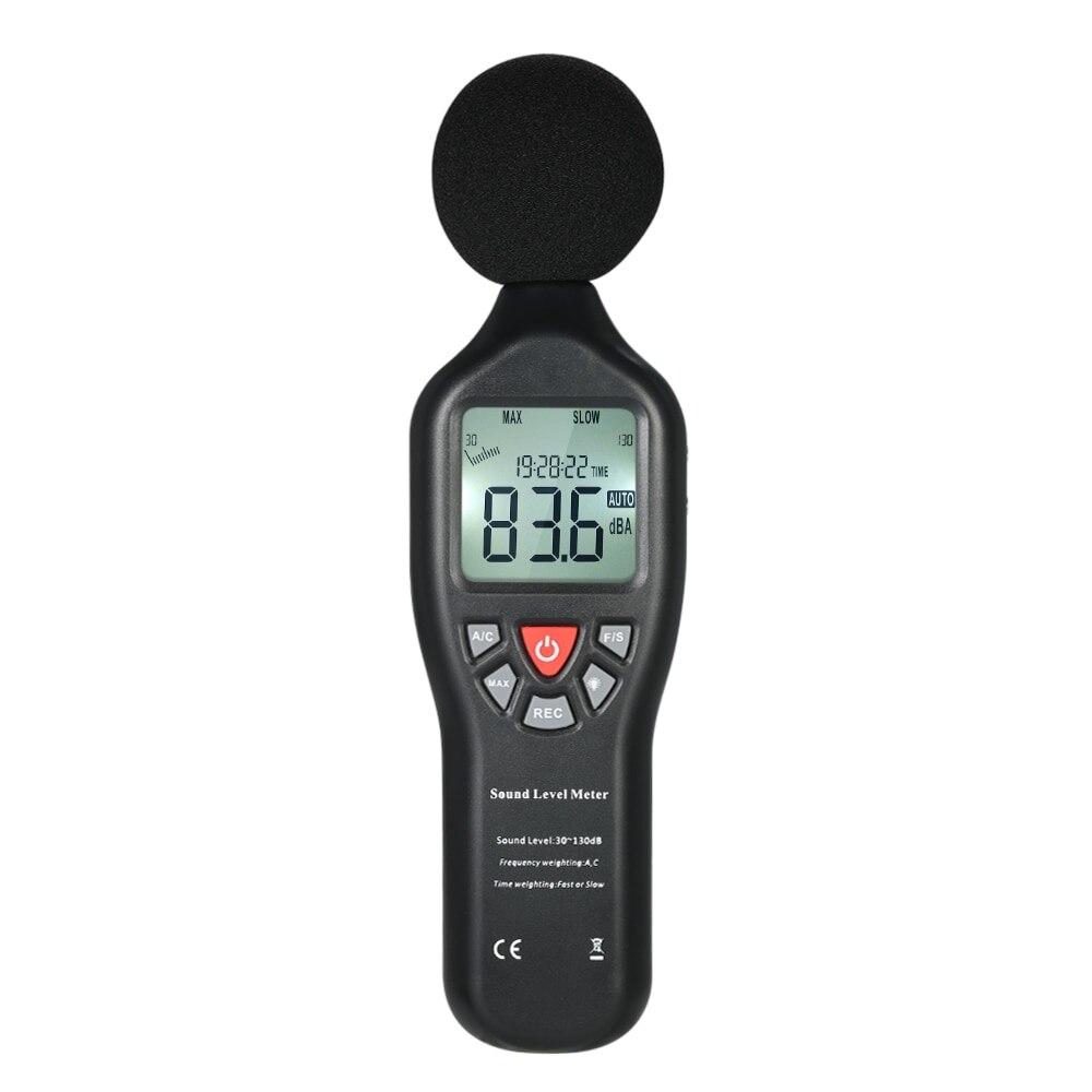 Indicateur de niveau sonore numérique LCD 30-130dBA décibel mètre Instrument de mesure du bruit décibel testeur de surveillance données d'enregistrement Func