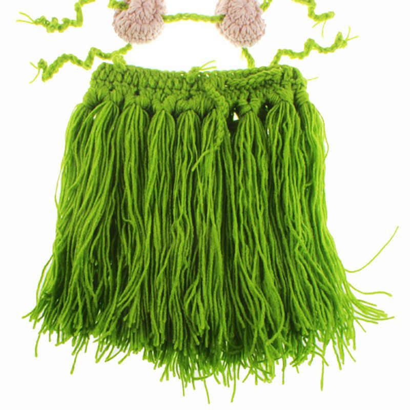 d947e615dab1c ... Crochet Baby Girl Grass Hula Skirt Outfit Set Newborn Photo Prop Infant  Hawaiian Hula Hoop Clothing ...