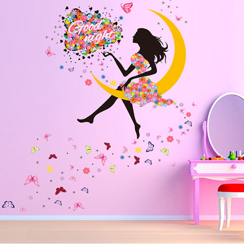 PVC DIY Princess Butterfly Moon Girls Art Decal Wall Stickers For Home Decor Mural Kids Bedroom Living Room Wall Decoration