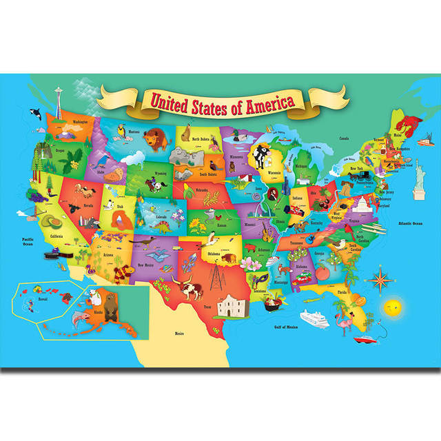 S1833 kids education world map of usa geography school wall art s1833 kids education world map of usa geography school wall art painting print on silk canvas gumiabroncs Gallery
