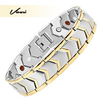 Vivari 2017 Classic Stainless Steel Magnetic Men Bracelet 4in1 Magnets Negative Ions Germanium Far Infra Red