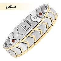 Vivari 2017 Classic Stainless Steel Magnetic Men Bracelet 4in1 Magnets Negative Ions Germanium Far Infra Red
