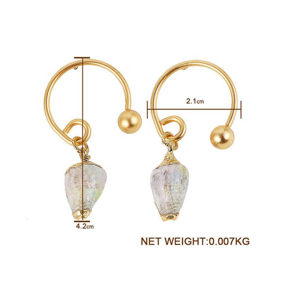 Barok Tatlısu inci küpeler Kadınlar için Doğal Deniz Kabuğu Dangle Bırak Küpe Yeni Altın Renk Büyük Bildirimi Takı