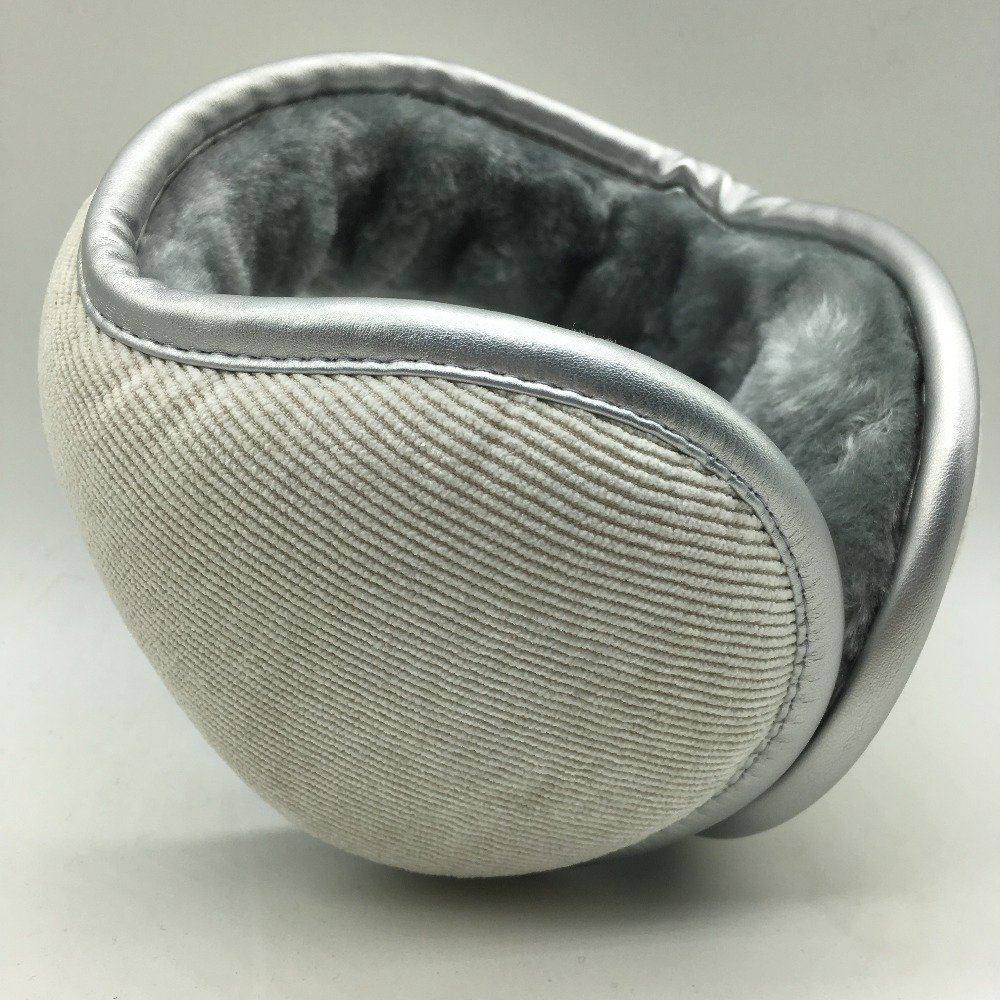 2017 The Latest  Corduroy Warm Earmuffs Fashion Outdoor AdjustableThickening  Increase Ear Muffs Silver PU Wrapping Earshield