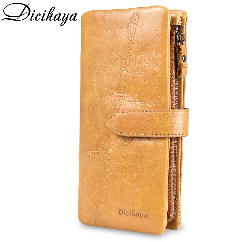 DICIHAYA Luxury Brand 100% Genuine Cowhide Leather Vintage Wallet Male Wallet Men Long Clutch Bag With Coin Purse Zipper Pocket