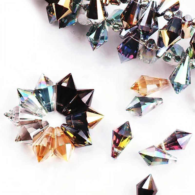 6 Pcs 6X12 Mm Pesona Ab Kristal Menunjuk Titik Air Mata Manik-manik Faceted Manik-manik Kaca Wanita Aksesoris Kalung Anting-Anting Liontin