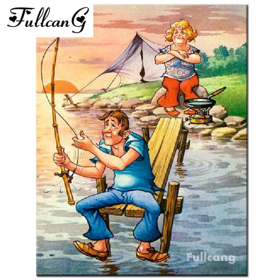 FULLCANG 5D Diamond Embroidery Husband And Wife Fishing Diy Square Diamond Painting Cross Stitch Full Mosaic Crafts Kits F308