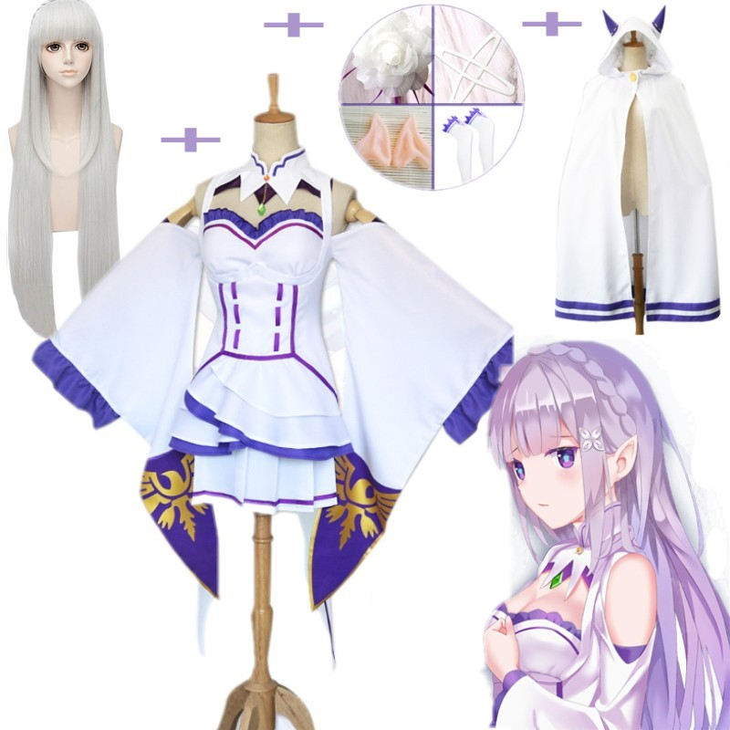 10pcs/Set Emilia Dress Re Zero Cosplay Sets  Wig Women Cosplay Dress Emilia Cosplay Costume Anime Cosplay Party Halloween Party