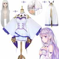 10 teile/satz Emilia Kleid Re Null Cosplay Sets Perücke Frauen Cosplay Kleid Emilia Cosplay kostüm Anime Cosplay Partei Halloween Party