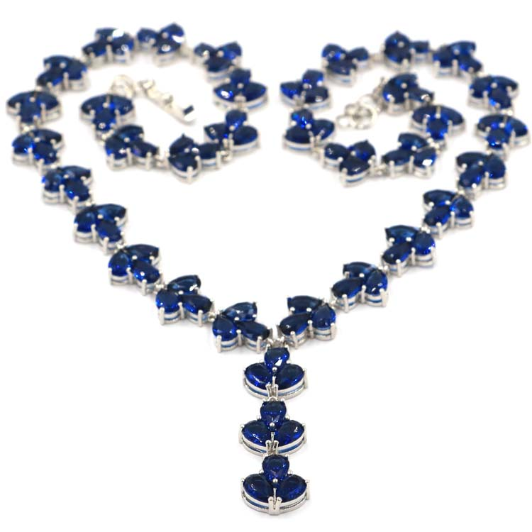 Deluxe Tanzanite White Cubic Zirconia Woman s Party Silver Necklace 18 5 19 0in 42x13mm