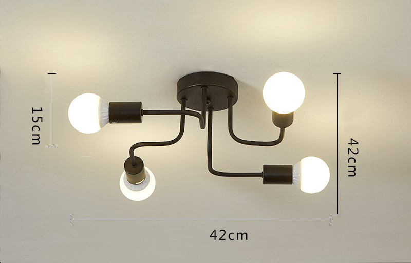 Retro Industrial Loft Nordic Pipe Wrought Iron Ceiling Light 4 Heads Lamp for Home Decor Restaurant Dinning Cafe Bar Room