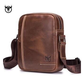 100% Genuine Leather Men's Messenger Bag small cow leather shoulder bag for male fashion man Handbags vintage Men crossbody Bag Cross Body Bags