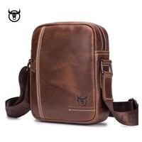 100% Genuine Leather Men's Messenger Bag small cow leather shoulder bag for male fashion man Handbags vintage Men crossbody Bag