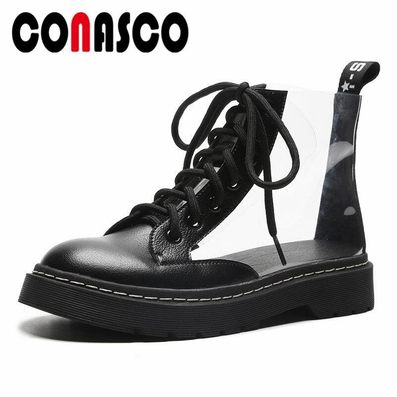 f1568d85 Moda 2019 Conasco Botas Botines blanco Gruesos De Negro Tacones Martin  Otoño Zapatos Transparentes Cortas Mujer 0wzUR1qxzp