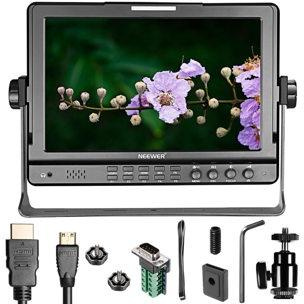 Neewer NW-1018 10.1 inches HD Monitor HDMI YPbPr COMPOSITE Input Signals IPS Screen 1280x800 high Resolution HD Vedio Monitors