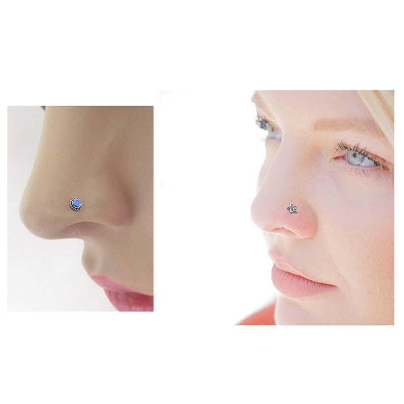 גוף פאנק 3Pcs חמוד האף טבעות פירסינג 18G/20G הרבעה חישוק כירורגי פלדה סגול נצנצים ירח השיש דפוס אבן כוכב נשים