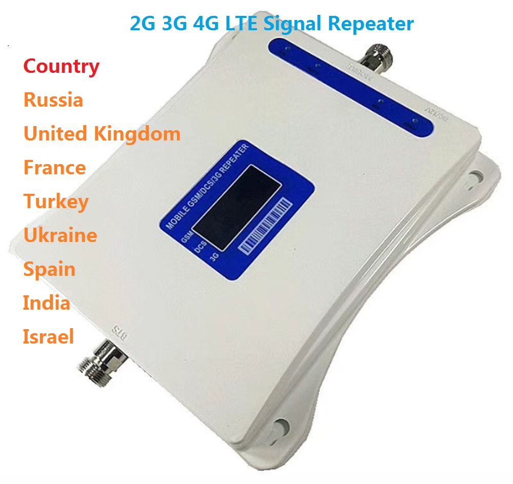 GSM 900 WCDMA 2100 LTE 1800 Tri Band Mobile Phone Signal Booster 70dB Gain Cell Phone