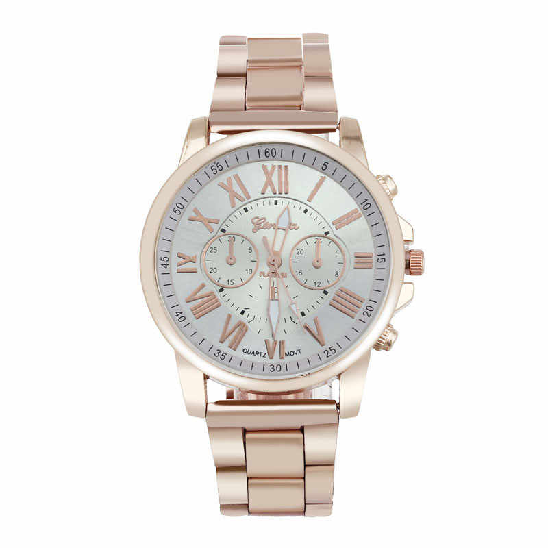 Fashion Women's Watches Geneva Roman Number Stainless Steel Analog Rose Gold Quartz Wrist Watch Ladies Dress Watch &02