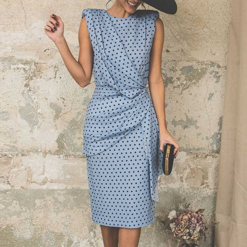 472b129cd7a Elegant Polka Dot Bodycon Dress Women Summer 2019 Sleeveless Knee-length  Party Office Pleated Dresses