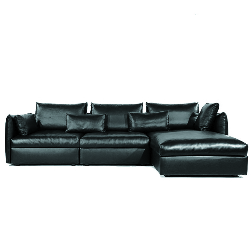 Down Filled Leather Sofa In Living Room