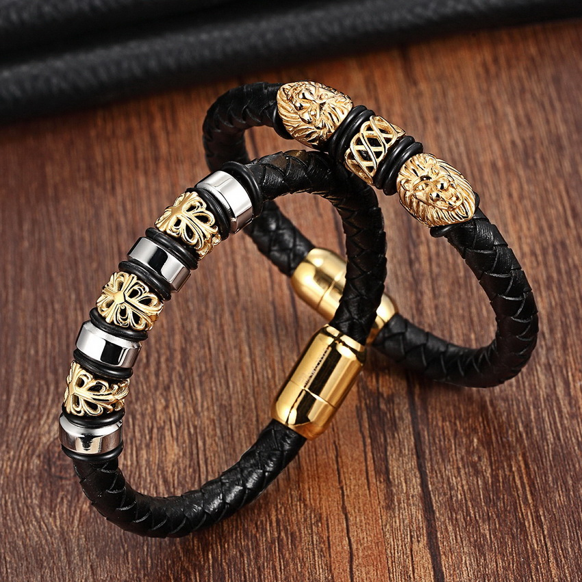 Gold Genuine Leather Stainless Steel Bracelets For Women Bracelets & Bangles Trendy Men Jewelry Fashion Charm Leather Bracelet