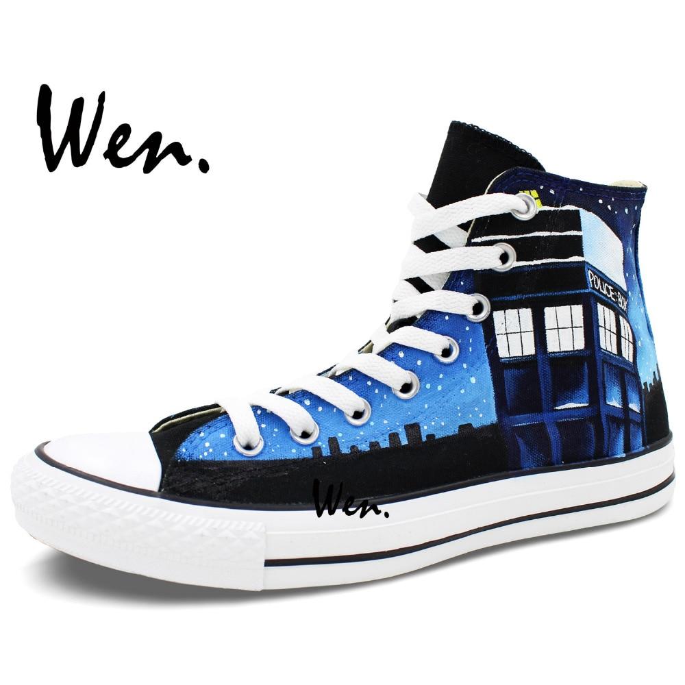 Wen Ručno oslikane Canvas Cipele Dizajn Custom Pandorica Tardis - Tenisice - Foto 4