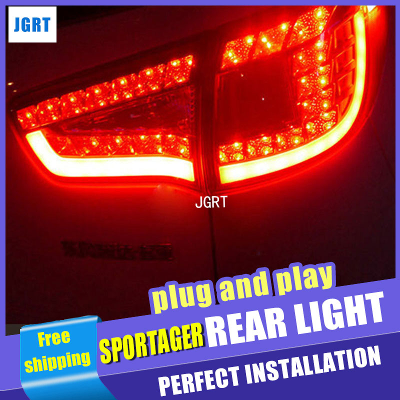 Car Styling for Kia SportageR Taillight assembly 2011-2014 Sportage R LED Tail Light LED Rear Lamp DRL+Brake with hid kit 2pcs. for kia sportage r led tail lamp