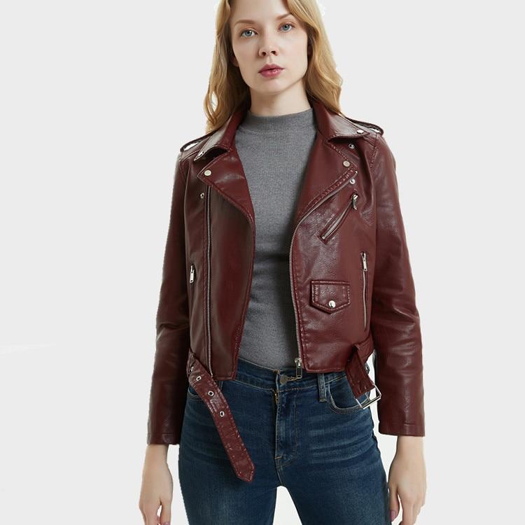 Printemps automne femmes Pu Faux cuir Moto veste courte revers Moto veste avec ceinture vin rouge filles manteau Streetwear grande taille