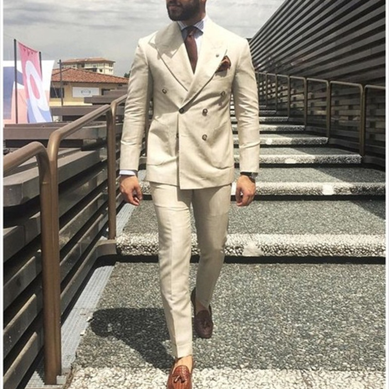 2019 Latest Coat Pant Designs Ivory Beige Double Breasted Men Suit Formal Slim Fit Gentle Blazer Custom 2 Piece Mens Suits Terno