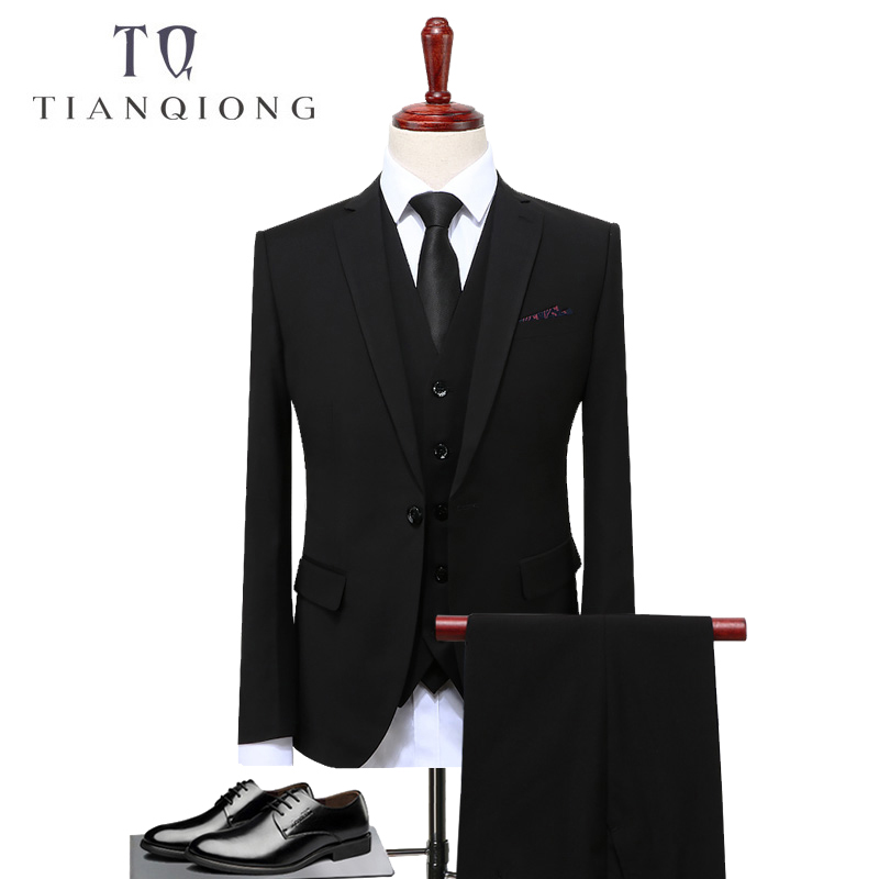 TIAN QIONG Groom Suit Wedding Suits For Men 2018 Mens Solid Suit Black Wedding Tuxedos For Men Casual Tuxedo Suit Male S-4XL