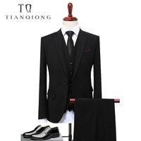 TIAN QIONG Groom Suit Wedding Suits For Men 2018 Mens Solid Suit Black Wedding Tuxedos For Men Casual Tuxedo Suit Male S 4XL