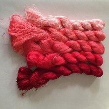 5 мотков ручной окрашенные Китайский Натуральный шелк тутового шелкопряда вышивка нитки мулине 440 м в виде мотка#11