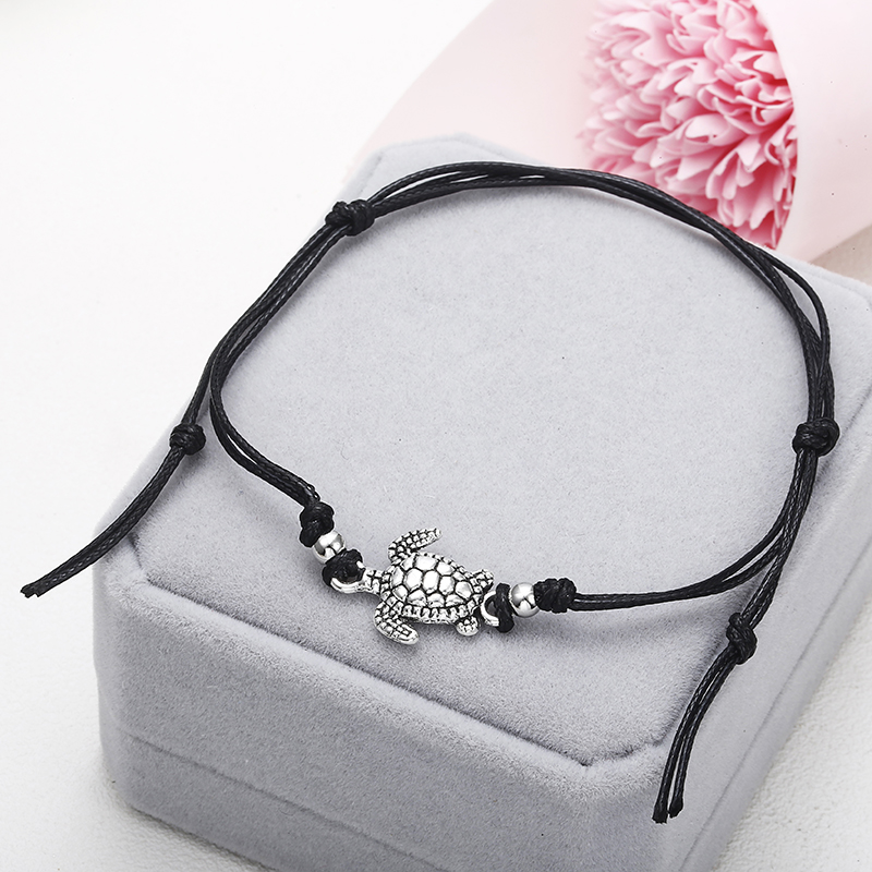 NS37 Summer Beach Turtle Shaped Charm Rope String Anklets For Women Ankle Bracelet Woman Sandals On the Leg Chain Foot Jewelry 4