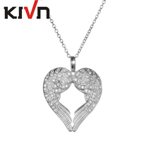 KIVN Jewelry Feather Heart Guardian Angel Wing CZ Cubic Zirconia Wedding Bridal Pendant Necklaces For Women